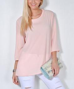 Look at this #zulilyfind! Pink Notch-Accent Tunic #zulilyfinds