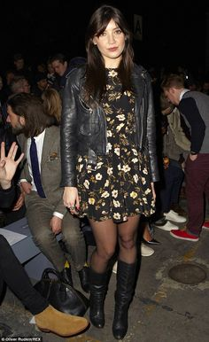 Grunge girl: Daisy Lowe wears a leather biker jacket and floral dress to the Casely-Hayford show