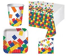 Tableware for Lego Party - Building Blocks Deluxe Party Pack Kit for 16 Lego Party Decorations, Lego Party Games, Lego Themed Party, Lego Birthday Party, Party Themes, Party Ideas, Birthday Ideas, Birthday Boys, Third Birthday