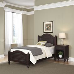 Home Styles Bermuda Espresso Twin Bed and Night Stand, Brown
