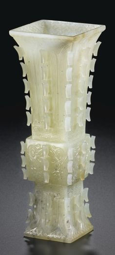 A WHITE JADE VASE, FANGGU QING DYNASTY, 19TH CENTURY
