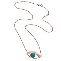 """Priscilla 1"""" Eye Necklace with turquoise stone on an adjustable 15""""/16"""" rope chain. Pendant is approximately 1"""" wide and 1/4"""" tall. Sterling silver, Rose vermeil or Gold vermeil. $242-"""