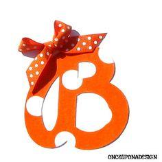 Orange & White Polka Dot Cursive by OnceUponaDesign on Etsy, $3.00