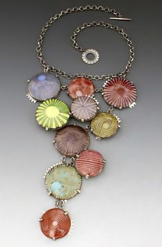 "Necklace | L. Sue Szabo. ""On the Boardwalk"". Enamel and sterling silver."