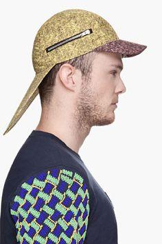 KENZO Yellow Basket Weave double-brimmed Cap
