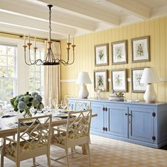 love the soft yellow. Color: benjamin moore, mushroom cap.  I could paint my parents's highboy chest this blue. I could paint the kids's room walls yellow