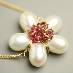 Items similar to Pearl Flower Necklace Pink Tourmaline Clusters Gold Fill Chain on Etsy Pearl Jewelry, Wire Jewelry, Pendant Jewelry, Jewelry Crafts, Beaded Jewelry, Jewelery, Handmade Jewelry, Jewelry Necklaces, Bracelets