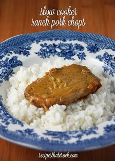 Slow Cooker Ranch Pork Chops #crockpot