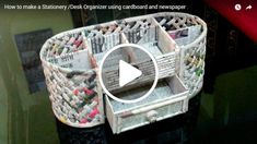 How to make a Stationery /Desk Organizer using cardboard and newspaper The sizes of the spaces vary. Recycled Paper Crafts, Paper Crafts Origami, Diy And Crafts, Crafts For Kids, Newspaper Basket, Newspaper Crafts, Rolled Paper Art, Reuse Plastic Bottles, Baby Diy Projects
