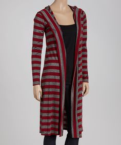Love this Red & Gray Stripe Duster Sweater by Celeste on #zulily! #zulilyfinds