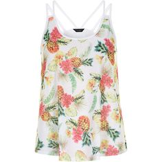 Dorothy Perkins Ivory strappy pineapple vest ($12) ❤ liked on Polyvore featuring tops, tank tops, multi colour and dorothy perkins