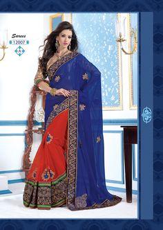 Fantastic Flame Orange And Royal Blue #Saree  #designersaree #indiansaree #craftshopsindia