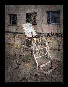 Open Air Exam-1  Examination chair outside the Pripyat Hospital near Chernobyl
