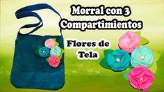 Morral de Tela con 3 Compartimientos decorado con Flores de Tela