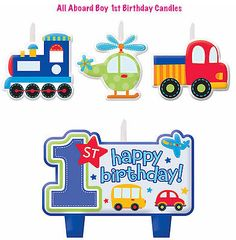 All aboard #boy's 1st birthday #party supply- 4pcs cake #decoration mini candle s, View more on the LINK: http://www.zeppy.io/product/gb/2/161876379378/