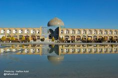 Esfahan architecture have close relationship with water. A large pool reflects the building image like a mirror.#aksiine