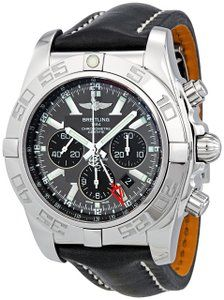 Best watches for men Breitling Men's AB041012/F556BKLD Chronomat GMT Grey Dial Watch The Breitling wristwatch features a 24 millimeters calfskin bracelet. It has a screw down crown which gives more...