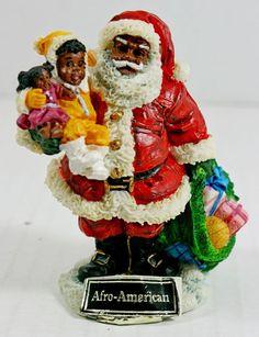 Santa of the World African American Black Galleria Lucchese Roman Xmas Figurine Christmas Figurines, Christmas Items, Christmas Home, Vintage Christmas, Xmas, Christmas Ornaments, Black Christmas Decorations, Chocolate Santa, American Chocolate