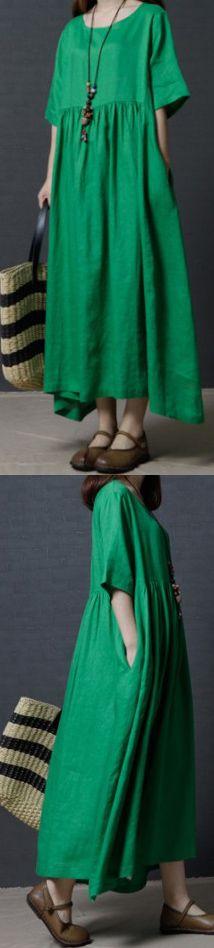 FINE LINEN GREEN WOMEN SUMMER DRESSES OVERSIZE VINTAGE SUNDRESS O NECK MAXI DRESS (5)