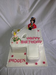Captain Hook and Tinker Bell  number 4 cake made by my daughter @all-the-best check her website out