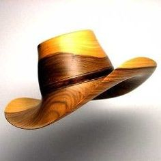 Amazing cowboy hat carved from wood.