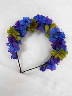 Peacock Blue & Purple Mum Headband Day of the Dead  Frida Kahlo Headpiece by FlowerFair