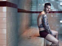 David Beckham models his Bodywear line for H&M Winter 2014.