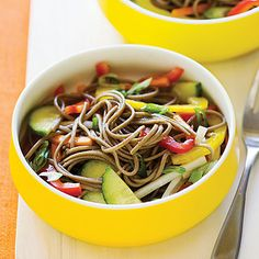 Cold Soba Salad With Crisp Vegetables: The gentle, nutty flavor of soba noodles, which are made with buckwheat flour, complements the fresh crunch of vegetables in this cold side salad.