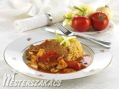 Lecsós sertésborda Bacon, Pork, Beef, Chicken, Red Peppers, Kale Stir Fry, Meat, Pork Chops, Pork Belly