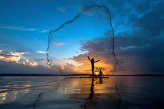 Photograph Tropical net fishing in sunset. by Jakkree Thampitakkul on 500px