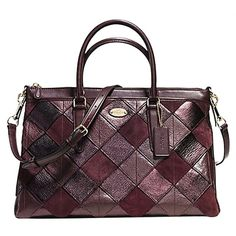 Pre-owned Coach F36698 Morgan In Patchwork Leather Msrp Oxblood... ($280) ❤ liked on Polyvore featuring bags, handbags, oxblood, leather satchel, coach purses, crossbody purse, leather satchel purse and leather crossbody purses
