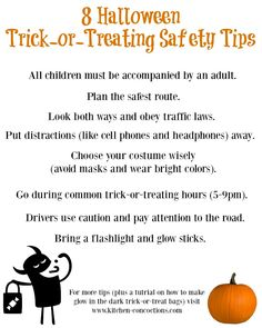 easy diy glow in the dark trick or treat bags plus 8 halloween trick or treating safety tips - Halloween Safety Printables