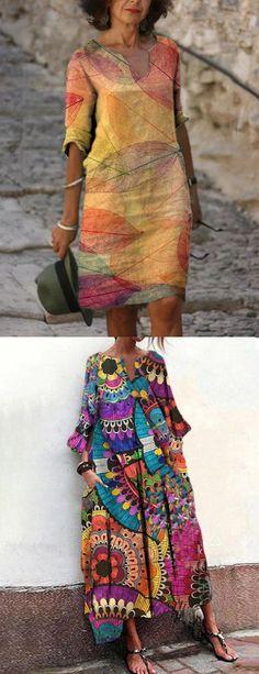 Fashion Prints, Boho Fashion, Fashion Dresses, Fashion Design, Mode Hippie, Affordable Clothes, Linen Dresses, Mode Inspiration, Mode Outfits