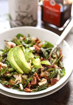Chicken Bacon Avocado Salad - my new favorite! healthy + simple + full of flavor and crunch. 350 calories.   pinchofyum.com