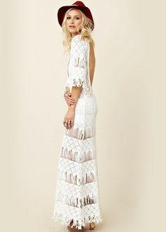 ME 2.0- All White Party :: White Cutout Maxi Dress