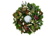 "22"" Magnolia & Eucalyptus Live Wreath - Creekside Farms"