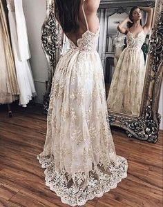 ivory lace long v-neck spaghetti straps prom dress , PD1288