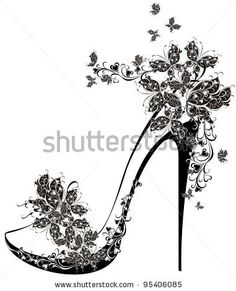 Shoes on a high heel decorated with flowers and butterflies. Vector illustration of flowers high heel - stock vector