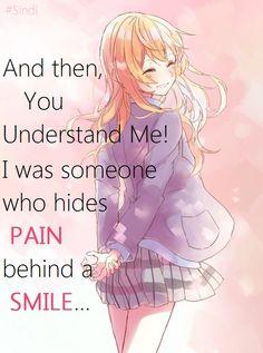 Your Lie in April Quotes... Kaori Pain...Smile...Hide