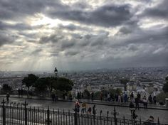 Morning #clouds begin to clear #sunshine #sunrays #view over #Paris from the #hill of #Montmartre (at Basilica of the Sacre Cur)