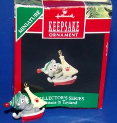 Kittens in Toyland #3 Miniature Hallmark Keepsake Ornament 1990 Cat Sailboat