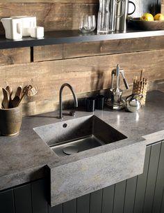 Arbeitsplatte Corian Küche Dupont Grau Rechteckig Spüle Waschbecken