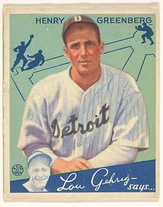 Henry Greenberg, Detroit Tigers.  Gum series (R320) for the Goudey Gum Company Date: 1934 #baseball #1930's