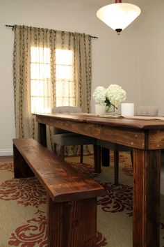 love the rustic dining room table and bench. i would add beautiful victorian chairs at the ends to make it a rustic vintage feel.