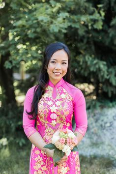 Vietnamese Tea Ceremony Wedding | Bride |  Pink and Gold Custom Made Ao Dai | Summer Wedding Photo | Lovely Valentine Photography