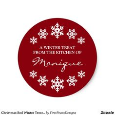 Christmas Red Winter Treat Label Snowflakes Classic Round Sticker