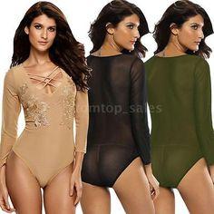 New Women Bodysuit Chic Print O-Neck Long Sleeve Bodycon Jumpsuit Rompers G6X8    eBay