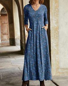 Elegant Dresses, Casual Dresses, Blue Dresses, Maxi Dresses, Ladies Dresses, Vintage Dresses, Long Summer Dresses, Dress Long, Long Sleeve Maxi