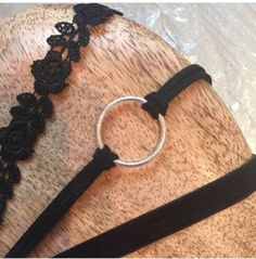Handmade Chokers 3 Pack Black Lace, Ring And Velvet Choker Adjustable