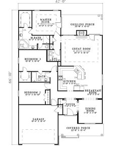 Ranch House Plan First Floor - 055D-0280   House Plans and More
